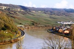 Mosel River in the winter time. A Mosel River, in the winter time. Photo made from the Route du vin,  in Luxembourg. High level of water due to many rains Stock Images