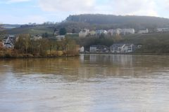 Mosel River in the winter time. A Mosel River, in the winter time. Photo made from the Route du vin,  in Luxembourg. High level of water due to many rains Stock Photos