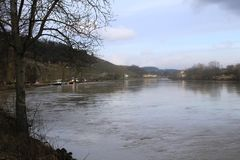 Mosel River in the winter time. A Mosel River, in the winter time. Photo made from the Route du vin,  in Luxembourg. High level of water due to many rains Stock Image