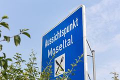 Mosel Valley highway sign germany. The Mosel Valley highway sign germany royalty free stock images