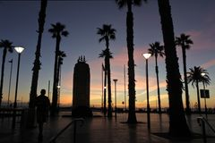 Moseley Square Glenelg Adelaide South Australia. Silhouette of Moseley Square at sunset in  .Glenelg Adelaide, South Australia royalty free stock photos