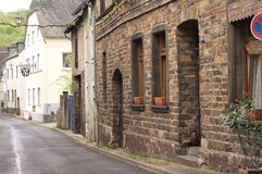 Moselkern, Germany: Traditional german street with brick houses stock photo