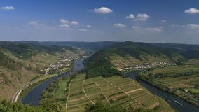 Moselle river bend near Bremm stock footage