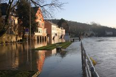 Flooding in Wasserbillig, Luxembourg, January 2018 Stock Photos