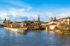 The Moselle River Flows through the Ancient Town of Metz, France. View of Metz city, Lorraine area of France. Horizontal shot. The Moselle river flows through Stock Images