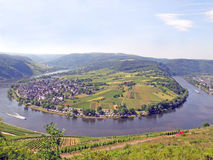 Moselle River Panorama. One of the hairpin curves of the Moselle River near the city of Kröv, Germany Royalty Free Stock Photo
