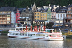Moselle tourist ship. A tourist ship is docked in the historic town of Cochem, Germany, on the river Moselle Stock Image