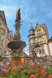 Moselle Valley Germany: View to market square and timbered houses in the old town of Bernkastel-Kues, Germany royalty free stock photography