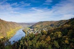 Moselle Valley near Cochem, Germany. Panoramic view of the river Moselle (Mosel) near Cochem / Sehl Royalty Free Stock Image