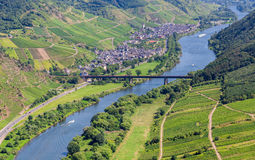 Moselle valley overlooking Ediger-Eller and the Mosel Royalty Free Stock Images