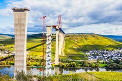 Moselle Vineyads  and Hochmoselbruecke under constraction German Stock Photos