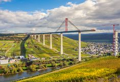 Moselle Vineyads  and Hochmoselbruecke under constraction German Stock Photo