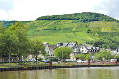 Moselle waterfront of Ellenz Poltersdorf village Royalty Free Stock Images