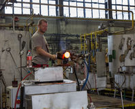Moser glassmaker at work at the Moser glassworks in Karlovy Vary Royalty Free Stock Photography