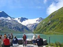 Moserboden stausee的看法在Kaprun谷的在奥地利 库存照片