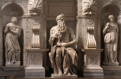 Moses. Rome, Italy. One of the most famous sculptures in the world - Moses by Michelangelo, located in San Pietro in Vincoli basilica stock photo