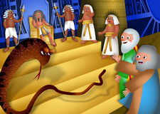 Moses and Aaron Before Pharaoh. A cartoon biblical illustration showing Moses and Aaron standing before pharaoh and performing the miracle of the staff turning stock illustration