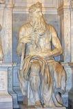 Moses av Michelangelo, del av gravvalvet av påven Julius II i San Pietro i Vincoli, Rome royaltyfria bilder