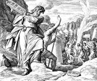 Moses Breaks 10 Gebote Stockfotografie