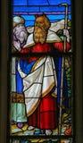 Moses - Buntglas in Mechelen-Kathedrale Stockbild