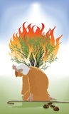 Moses and the Burning Bush. Moses Bent Down infront of the Burning Bush as God Speaks royalty free illustration
