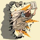 Moses com as tabuletas dos mandamentos da obrigação contratual 10 quebra uma parede, destrói estereótipos ilustração stock