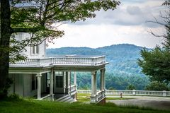 Moses cone manor on cloudy day in blue ridge mountains royalty free stock images