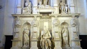 Moses de Miguel Ángel en Roma Italia almacen de video