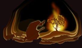 Moses e o Bush ardente ilustração royalty free
