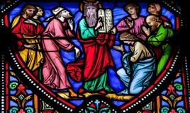 Moses ed il ordine dieci Fotografia Stock Libera da Diritti