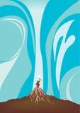 Moses-Erhöhungspersonal und dehnt überreicht heraus das Meer, um das Wasser zu teilen aus Lizenzfreie Stockbilder