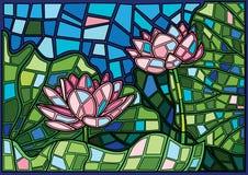 Moses för Lotus blomma målat glass royaltyfri illustrationer