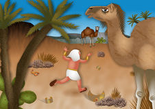 Moses Flees into the Desert. A cartoon biblical illustration showing Moses fleeing into the desert wilderness after it is discoverd that he killed an Egyptian Stock Photo