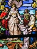 Moses grundar i Nilen - målat glass Arkivbild