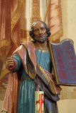 Moses holding the Ten Commandments. Statue on church altar Royalty Free Stock Photo