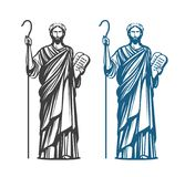 Moses holds in hand two stone tablets of covenant with ten commandments. Judaism religion, Jewish prophet symbol. Vector. Moses holds in hand two stone with ten Stock Photography