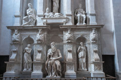 Moses with horns. Moses by Michelangelo. One of the most famous sculptures in the world , located in San Pietro in Vincoli basilica. Rome, Italy Royalty Free Stock Photography