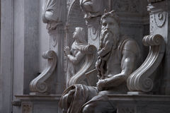 Moses with horns. Moses by Michelangelo. One of the most famous sculptures in the world , located in San Pietro in Vincoli basilica. Rome, Italy Stock Images