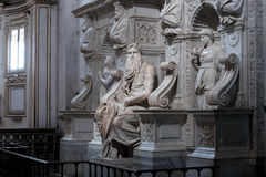 Moses with horns. Moses by Michelangelo. One of the most famous sculptures in the world , located in San Pietro in Vincoli basilica. Rome, Italy Stock Photos