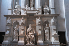 Moses with horns. Moses by Michelangelo. One of the most famous sculptures in the world , located in San Pietro in Vincoli basilica. Rome, Italy Royalty Free Stock Image