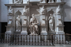 Moses with horns. Moses by Michelangelo. One of the most famous sculptures in the world , located in San Pietro in Vincoli basilica. Rome, Italy Royalty Free Stock Photos