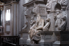 Moses with horns. Moses by Michelangelo. One of the most famous sculptures in the world , located in San Pietro in Vincoli basilica. Rome, Italy Stock Photography