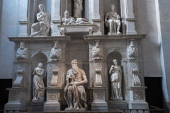 Moses with horns. Moses by Michelangelo. One of the most famous sculptures in the world , located in San Pietro in Vincoli basilica. Rome, Italy Royalty Free Stock Photo