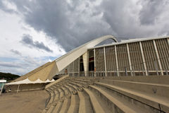 Moses Mabhida Stadium Arch And Staircase. A flight of stairs set against the backdrop of the Moses Mabhida Stadium, in Durban, South Africa stock photo