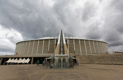Moses Mabhida Stadium Durban. Looking directly up the arch of the Moses Mabhida Stadium that the Skycar runs up royalty free stock photo