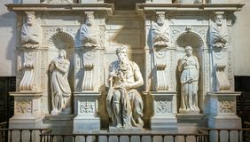 The Moses from Michelangelo, in the Church of San Pietro in Vincoli in Rome, Italy. San Pietro in Vincoli Saint Peter in Chains is a Roman Catholic titular stock photos