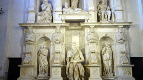 Moses by Michelangelo in Rome Italy stock video