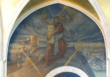 Moses mottar tio commandments Arkivfoto