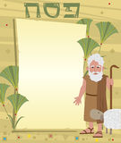 Moses Note. Passover banner with decorative background and Moses standing next to it. Eps10 Stock Photos