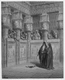 Moses och Aaron syns för Pharaoh stock illustrationer